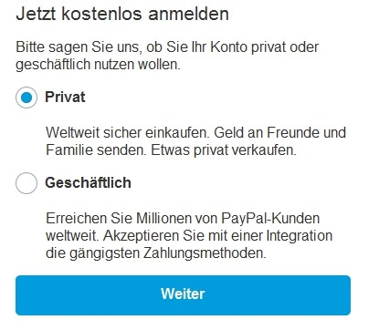 paypal registration